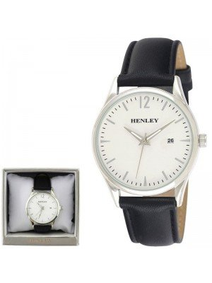 Wholesale Men's Henley Classic Watch with Leather Strap - Black/Silver
