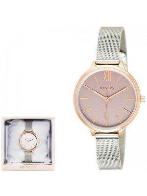 Wholesale Henley Ladies Two-Tone Mesh Bracelet Watch - Grey/Gold