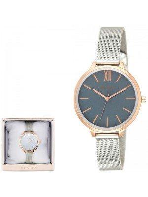 Wholesale Henley Ladies Two-Tone Mesh Bracelet Watch - Blue/Gold