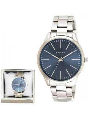 Wholesale Mens Henley Classic Bracelet Watch - Silver/Blue