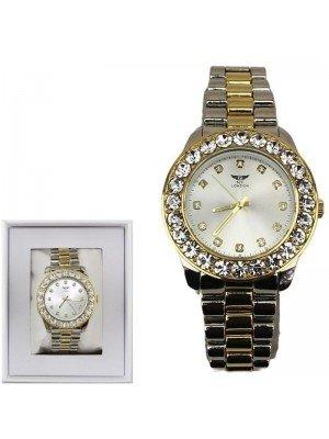 Wholesale Men's NY London Crystal Dial Tone Metal Bracelet Watch- Silver/Gold