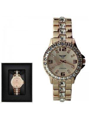 WHOLESALE Ladies NY London Crystal Design Metal Bracelet Watch - Rose Gold