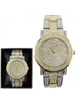 Wholesale NY London Mens Classic Bling Crystals Dial Two-Tone Fashion Watch - Gold/Silver