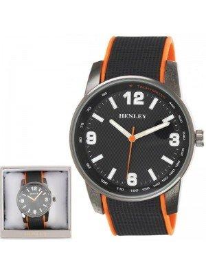 Wholesale Mens Henley Dual Silicone Strap Sports Watch-Black/Orange