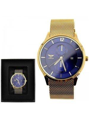 Wholesale NY London Mens Mesh Strap Watch-Gold/Blue