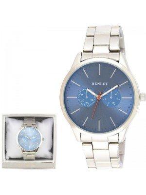 Wholesale Mens Henley Sports Bracelet Watch- Blue/Silver