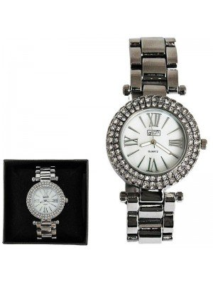Ladies Eton Round Silver Watch With Diamonds - Chrome
