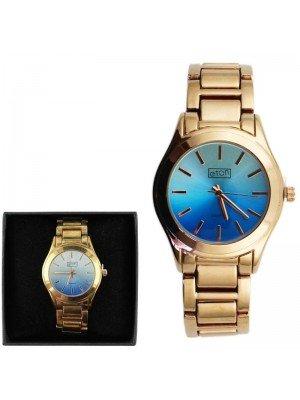 Wholesale Eton Ladies Metal Bracelet Watch - Rose Gold & Blue