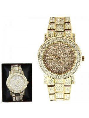 Wholesale NY London Men's Classic Bling Crystals Dial Fashion Watch - Gold