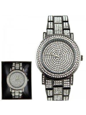 Wholesale NY London Mens Classic Bling Crystals Dial Fashion Watch - Gun Black