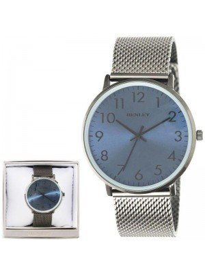 Wholesale Men's Henley Contemporary Numbered Mesh Watch- Black/ Blue