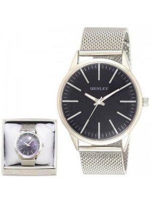 wholesale Men's Henley Contemporary Index Mesh Watch - Silver