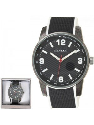 Wholesale Mens Henley Dual Silicone Strap Sports Watch-Black/White