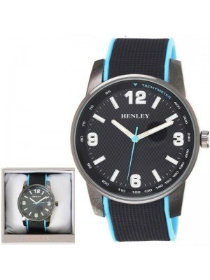 Wholesale Mens Henley Dual Silicone Strap Sports Watch-Black/Blue