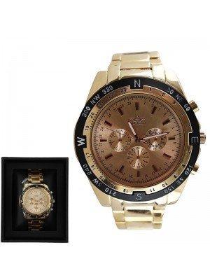 Men's Softech Round Metal Bracelet Watch - Gold