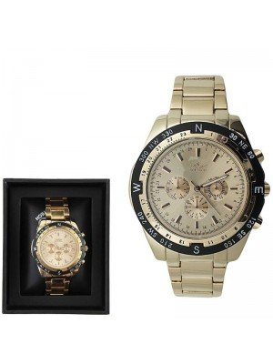 Softech Mens Classic 3 Dial Design Fashion Watch - Rose Gold