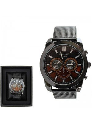 Wholesale Softech Mens 3 Time Display Watch - 2 Tones - Gun Brown