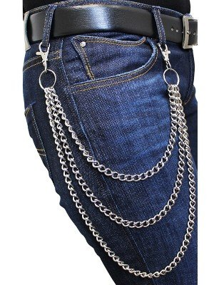 Triple Metal Chain Lightweight Silver With Double Hooks(B)