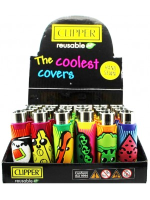 """Clipper Reusable The Coolest Covers """"Exotic Foods"""" Design Metal Lighters - Assorted"""