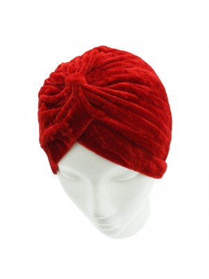 Velvet Turban Hat - Red