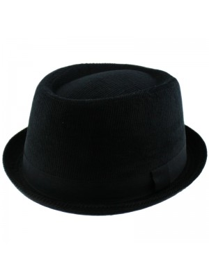Velvet Trilby with a Ribbon - Black