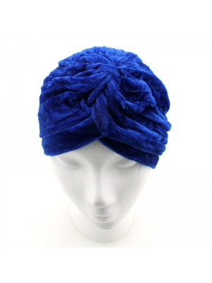 Velvet Turban Hat - Royal Blue