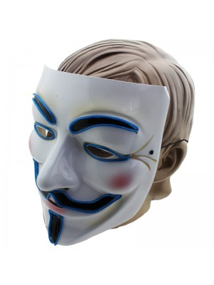 Vendetta Face Mask with Lights - Blue
