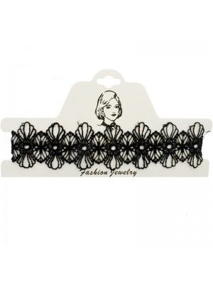 Vintage/Retro Choker Necklace Black Lace Flower Designs 2