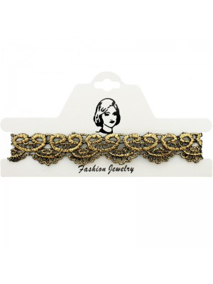 Vintage/Retro Choker Necklace Gold Lace