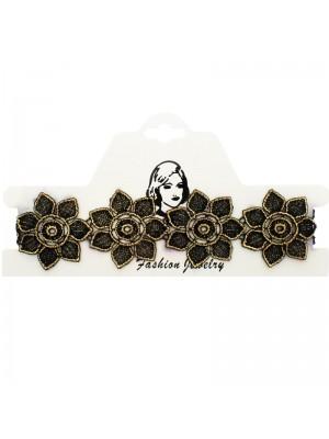 Vintage/Retro Choker Necklace Gold Lace Flower Design 1