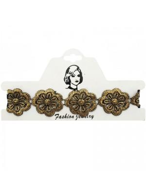 Vintage/Retro Choker Necklace Gold Lace Flower Design 2