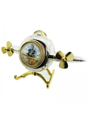 Vintage Aeroplane Design Alarm Clock - Silver & Gold