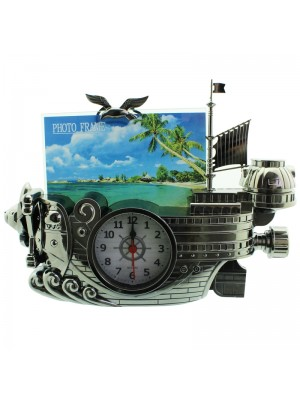 Vintage Pirate Ship Design Alarm Clock with Picture Frame - Grey