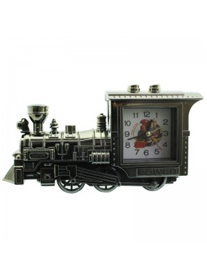 Vintage Steam Train Design Alarm Clock - Grey