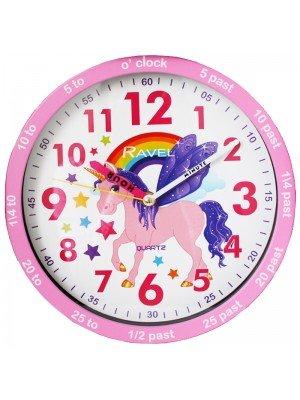 Ravel Children's Unicorn 25cm Time Teacher Quartz Wall Clock - Pink