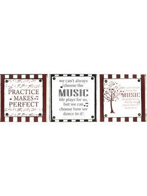Music Quotes Hanging Wall Plaque With Hanging Tag - Assorted