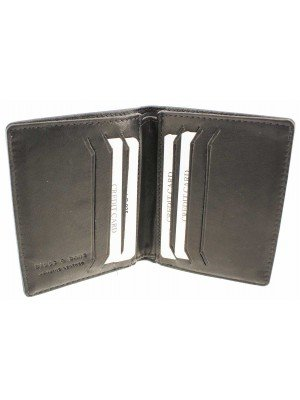 Wholesale Mens RFID Woodbridge Genuine Leather Wallet 6 Card Slots - Black