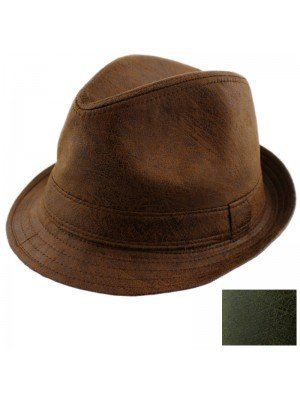 Washed Leather Look Trilby Hats - Assorted Colours