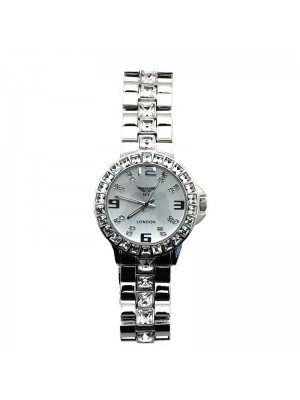 NY London Ladies Diamond Watch - Silver