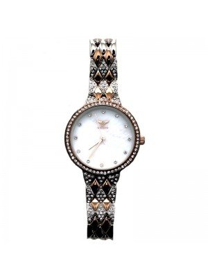 NY London Ladies Small Diamond Watch - Silver & Rose Gold