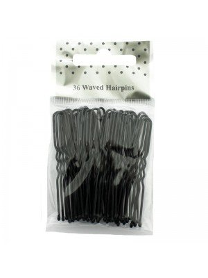 Waved Hair Pins - Black (5cm)