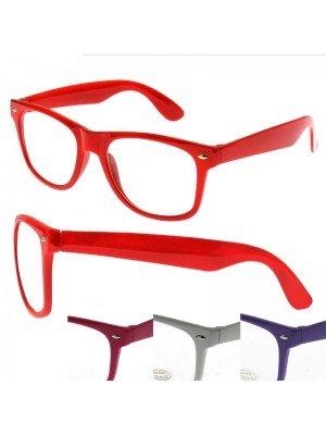 Wayfarer Glasses Assorted Colour Frames - Clear Lens