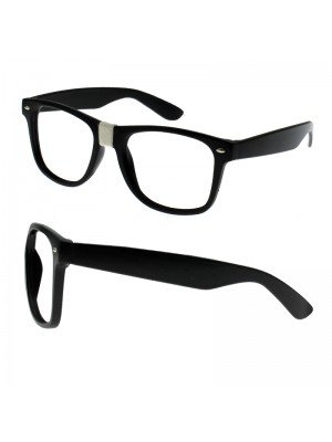 Wayfarer Glasses With No Lens - Black Frame
