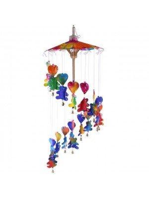 Wind Chime Multicolour Teddy Bear & Heart