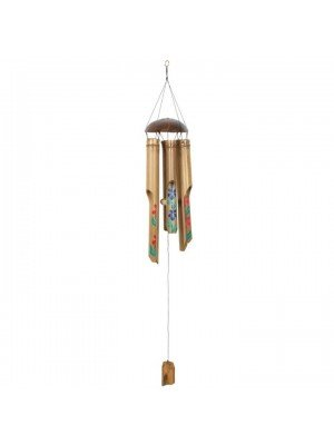 Wholesale Painted Hibiscus Bamboo Windchime - 112cm