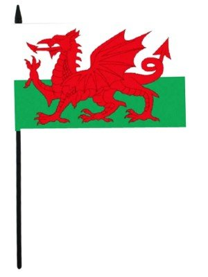 """Wales Hand Flag Small - 6"""" x 4"""""""
