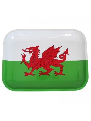 Welsh Dragon Flag Large Rolling Tray - 27.5 x 34 cm