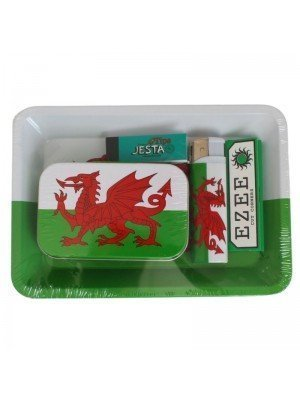 Mini Welsh Dragon Flag Rolling Tray Set