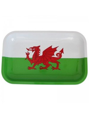 Welsh Dragon Flag Small Rolling Tray - 17.5 x 27.5 cm