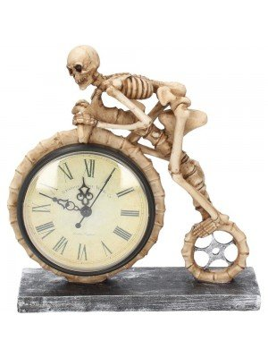 Wheels of Time Skeleton Table Clock